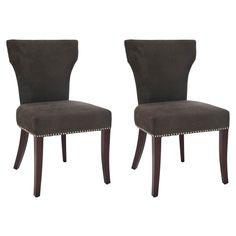 Safavieh Ryan 22''H Fabric Side Chair - Nickel Nail Heads (Set Of 2), Brown