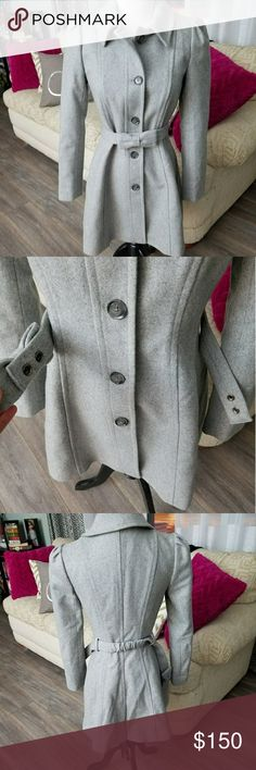 BananaRepublic italian wool-blend coat This coat is sooooooooo cute! It is warm and super stylish. I love the shoulder detailing and that bow sash brings the whole look together. This is a very beautiful piece that was only worn a couple times. In excellent condition. Just needs a little love to get the wrinkles out! Banana Republic Jackets & Coats Pea Coats