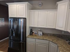 Two tone kitchen refinished in a custom white with Sherwin Williams mindful gray on bottom by Chameleon Painting SLC UT. Refinishing Cabinets, Kitchen Refinishing, Two Tone Kitchen, Kitchen Remodel, Refinishing Furniture, Kitchen Appliances, Kitchen Remodel Design, Mindful Gray, Kitchen Design