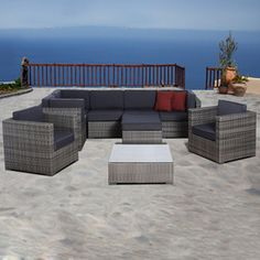 International Home�10-Piece Atlantic Gray Wicker Patio Conversation Set with Solid Gray Cushions