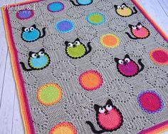 HÄKELN Sie Muster - Cat Lover Blanket - eine bunte Katze-Afghan-Decke mit Kreisen, Quadraten und Kitty Katzen - Instant PDF Download