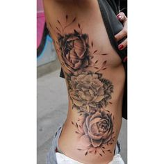 Girl Rib Side Rose Tattoo ❤ liked on Polyvore featuring accessories, body art and tattoos