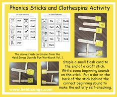 phonics sticks and clothespins