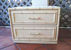 Vintage Pair of TWO Faux Bamboo Dixie Aloha Nightstands End Tables Hollywood Regency Tiki Palm Beach on Etsy, $320.00 Bamboo, End Tables, Interior And Exterior, Dining Room Renovation, Furniture, Faux Bamboo, Nightstand, Vintage, Dixie Furniture