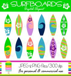 Instant Download – Surfboard Clipart – Personal and Commercial Use – Digital Graphics – Summer Clipart – Vacation Illustrations