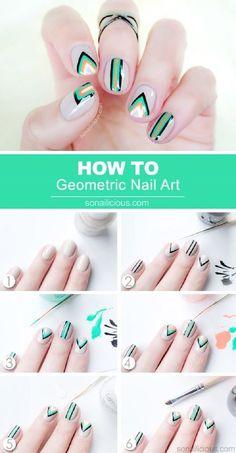 Cool Geometric Nails #sonailicious #nudemani #greenpolish