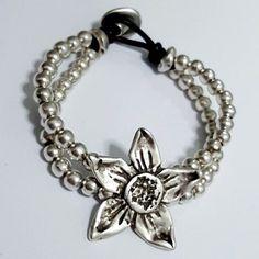 antique silver plated zamac leather bracelet