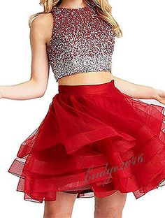 Two Pieces Beading Homecoming Dress Prom Gown Party Formal Cocktail Dresses