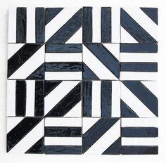 DEKORY - KAFLE czarno-białe pasy