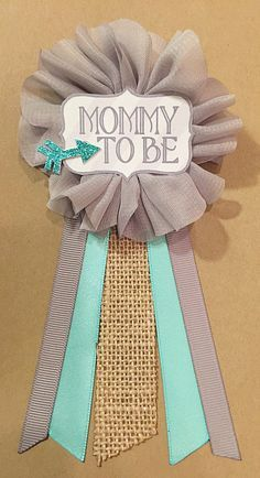 High Quality Gray Teal Arrow Burlap Baby Boy Shower Flower Ribbon Pin Corsage Glitter  Mommy Mom New Mom Its A Boy Baby Shower Pin Mommy To Be Pin
