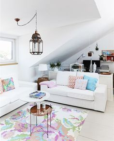 """womaninthewoods: """"gravity-gravity: """"Source: Hus & Hem """" love the bright, neutral palette with the little pops of pastel. Makes it feel simple but also homey instead of """"stiff"""" """" Home Design Decor, Interior Design Inspiration, Home Decor Inspiration, House Design, Pastel Home Decor, Boho Deco, Pastel House, Love Home, Scandinavian Interior"""