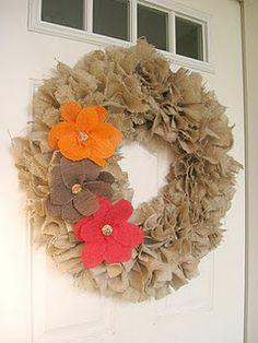 burlap rag wreath. definitely need to make!