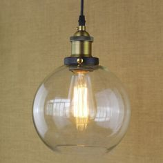 8 Inches Wide Brass 1-Light Clear Glass Globe Mini Pendant