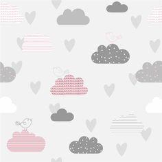 Papel de parede nuvens cinza e rosa com passarinhos. Pink And Gray Nursery, Pink Grey, Cute Wallpaper Backgrounds, Cute Wallpapers, Girl Room, Baby Room, Gris Rose, Nursery Wallpaper, Baby Gifts