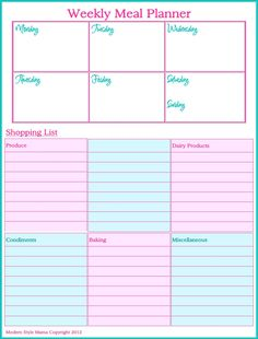 Weekly Meal Planner | Scribd