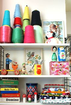 Fabric shelf & threads bobbins