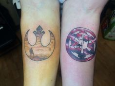 A different take on Star Wars, rebel alliance and imperial logo tattoos. www.broketattoos.com