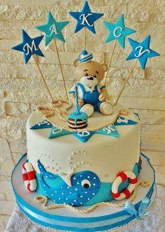 Baby Mickey Cake, Teddy Bear Birthday Cake, Kids Birthday Cupcakes, Image Birthday Cake, Baby First Birthday Cake, Bithday Cake, Teddy Bear Cakes, Ocean Cakes, Nautical Cake