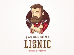 Dribbble - Lisnic Barbershop - character and logo by Sam Mountain