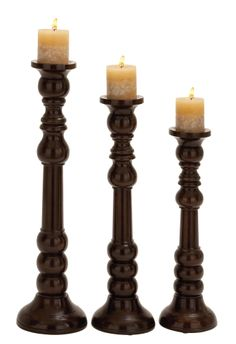 Woodland Imports Wood Candlesticks (Set of 3) | Wayfair