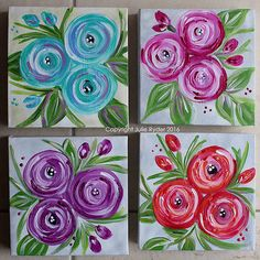 4 15 x flowery canvas Fabric Painting, Diy Painting, Painting & Drawing, Beginner Painting, Painting Tutorials, Mini Canvas Art, Spring Art, Canvas Crafts, Painting Inspiration