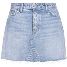 Grlfrnd Eva Denim Skirt found on Polyvore featuring skirts, bottoms, denim, saias, shorts, blue, denim skirt, blue denim skirt and blue skirt