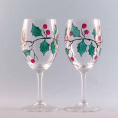 Hand Painted Christmas Wine Glasses | Wine Glasses – Holly – Set of 2