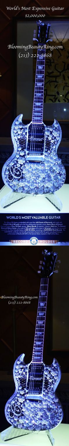 Worlds Most Expensive Guitar $2,000,000 used 3.5 pounds of 18 karat gold and 400 carats of diamonds!  #Guitar #Gibson #WorldRecord  http://www.BloomingBeautyRing.com  (213) 222-8868