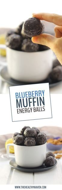 Want the taste of a sweet and delicious blueberry muffin, without all of the gunk? Make these Raw Blueberry Muffin Energy Balls for a nutritious snack that doesnt skimp on the flavor! Theyre the perfect no-bake recipe for a snack on the run or for a lu Nutritious Snacks, Healthy Sweets, Vegan Snacks, Healthy Snacks, Protein Snacks, Healthy Breakfasts, Healthy Protein, Easy Snacks, Eating Healthy