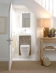 Small Downstairs Toilet, Small Basement Bathroom, Bathroom Under Stairs, Small Toilet Room, Tiny Bathrooms, Bathroom Layout, Bathroom Interior Design, Bathroom Ideas, Downstairs Bathroom