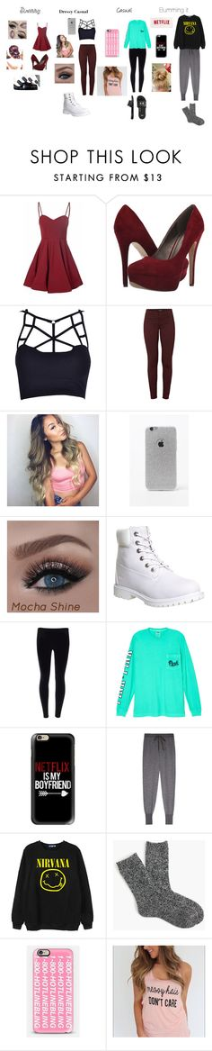 """which one is your favorite"" by emmasartorius on Polyvore featuring Glamorous, Michael Antonio, J Brand, LA: Hearts, Timberland, Victoria's Secret, Casetify, Clu, Chicnova Fashion and J.Crew"