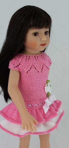 PDF Knitting pattern ANGELINA DRESS Fits 13 inch dolls Maru