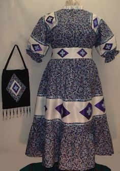 Cherokee Indian Clothing | Delaware-style faux wrap skirt, caped shirt, leggings, back hairbow ...