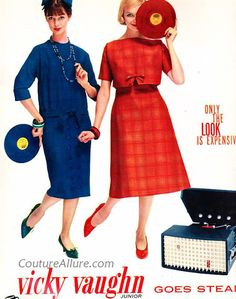 - Vicky Vaughn Dresses Advertisement (1958) - #music #kitsch #advertisement #records #vinyl #dresses http://www.pinterest.com/TheHitman14/musical-kitsch-%2B/