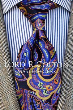 Lord R Colton Masterworks Tie - Leeds Navy & Gold Paisley Necktie - $195 New #LordRColton #NeckTie