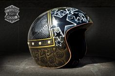 """Open face helmet """"Black Stars n°1""""    Custom Helmet elegant, aggressive, sporty and visually striking.    Airbrushed with metallic colors. Finished with brass studs and replied copper tape around the edges."""