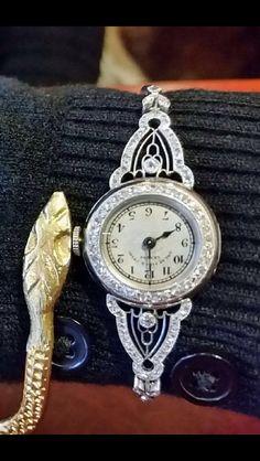 c29c02f7f83 Items similar to A PLATINUM DIAMOND Gold Art Nouveau Ladies Wrist WATCH on  Etsy