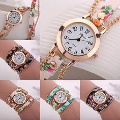 Fashion Women Girl Geneva Faux Leather Sling Chain Bracelet Quartz Wrist Watches #Unbranded #Fashion