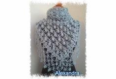 Πλεκτό τριγωνικό υπέροχο σάλι πλεγμένο με ανκορά και παγέτα - Triangular shawl (Sequin-Angora yarn) - Free crochet pattern #Free #crochet #pattern