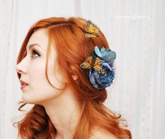 Blue Skies - a whimsical butterfly clip. $35.00, via Etsy. #ZoomWedding   Beautiful hair and hairpiece! I love her smoky eye makeup as well.