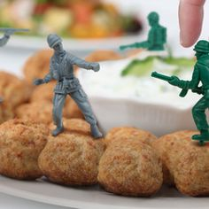 Food Fighters - Plastic Army Men Party Picks :) I saw them for sale on Amazon.