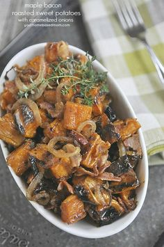 Maple Bacon Roasted Sweet Potatoes with Caramelized Onions - the most delicious side dish! Tastes like candy!!