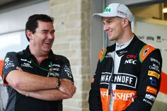(L to R): Steve Curnow, Sahara Force India Team Commercial Director with Nico Hulkenberg, Sahara Force India Photo by XPB Images on October 2015 at United States GP. Browse through our high-res professional motorsports photography Gp Formula, Force India, One Team, Commercial, United States, Usa, October, Photography, Formula 1