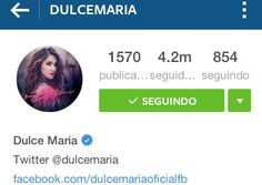 ExercitodeDulce : Wooow @DulceMaria ya llego a los 4.2M de seguidores en su INSTAGRAM! https://t.co/vfECiBkSda ������ https://t.co/0cFx5HXJYE | Twicsy - Twitter Picture Discovery