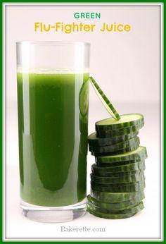 Green Flu Fighting Juice // Bakerette #antioxidants #immunebooster