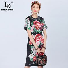 New Runway Dress Women's Short Sleeve Button Floral Printed Elegant Vintage Dress vestidos All About Fashion, Fashion Over, Passion For Fashion, Fashion Pics, Fashion Details, Runway Fashion, Womens Fashion, Fashion Trends, Fast Fashion
