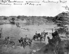 The (Special Service) Battalion, Royal Canadian Regiment of Infantry crosses the Modder River at Paardeberg Drift on 18 February 1900 to begin the assault on the Boer positions down-river to the east (or right — out of the range of the picture). Canadian Army, British Army, War Horses, British Colonial, Military History, Family History, South Africa, 19th Century, Range