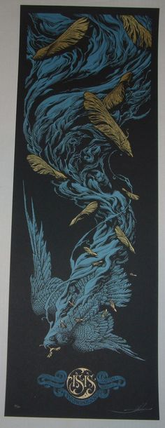AARON HORKEY Isis Baroness Australia New Zealand Japan Pacific Tour Poster 2010 Blue $299.99