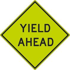 """Yield Ahead, National Marker TM610DG, 30""""x30"""", Black On Fluorescent Yellow, 85 Percent Recycled .080"""" Diamond Grade Reflective Aluminum Pedestrian And School Traffic Sign With 2 Holes For Post Mounting - Each"""