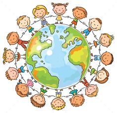 Buy Children round the Globe by katya_dav on GraphicRiver. Happy cartoon children round the Globe as a symbol of peace or global communication Art Drawings For Kids, Drawing For Kids, Art For Kids, Happy Cartoon, Cute Cartoon, Clipart, Kids Background, School Murals, Child Day